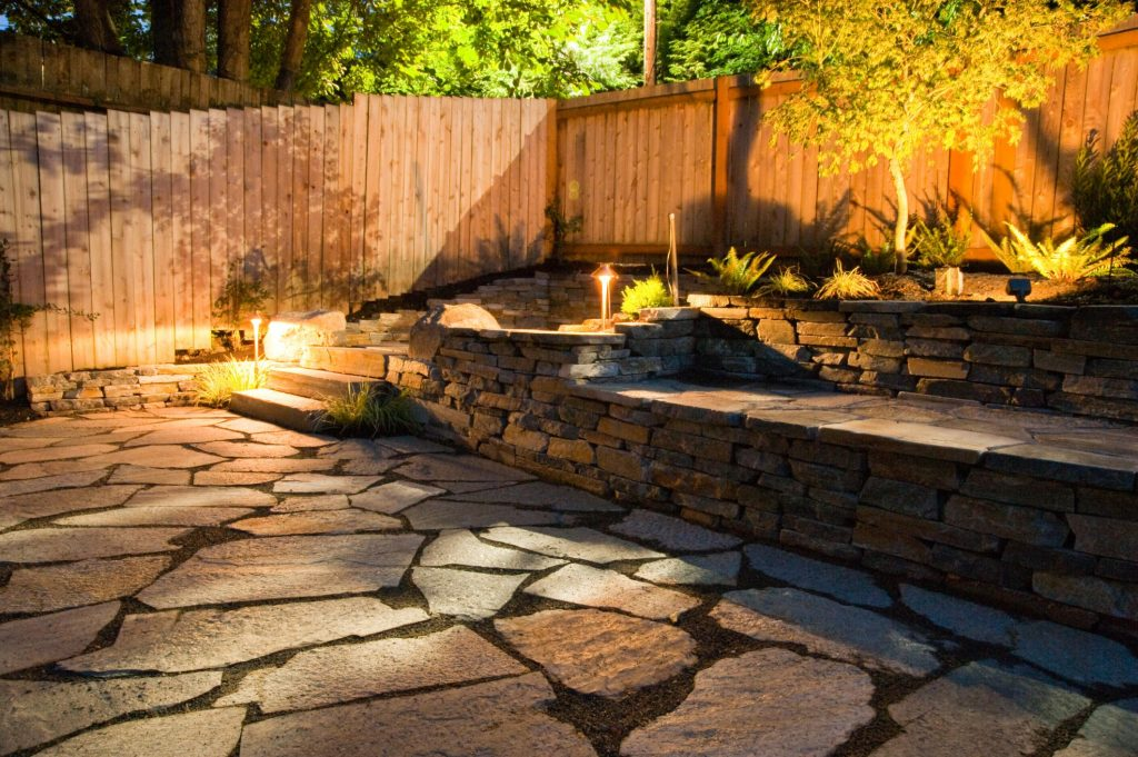 stone path walks in the garden