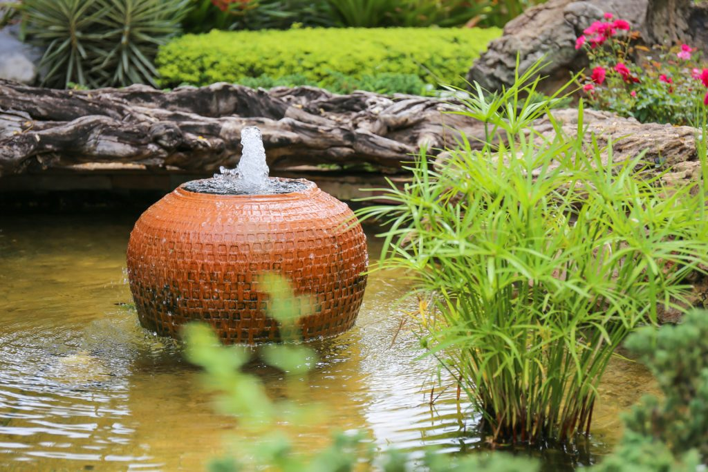 fountains in garden ponds